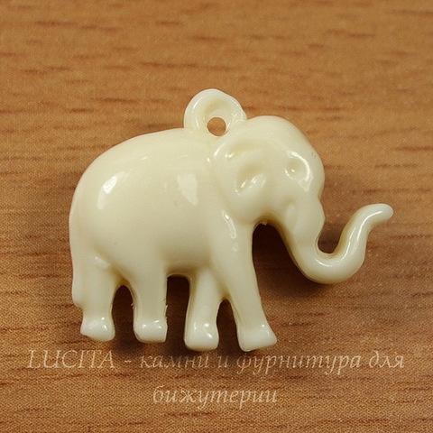 "Подвеска Коралл (искусств) ""Слон"", цвет - белый, 24х19х9 мм"