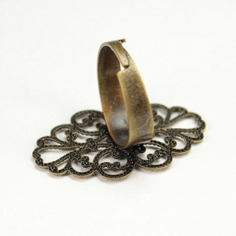 Основа для кольца с филигранью 32х20 мм (цвет - античная бронза)