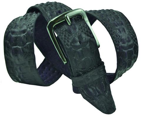 Мужской кожаный синий ремень под крокодила 40SVAR-C-005