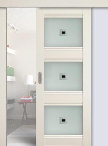> Экошпон раздвижная Profil Doors №4Х-Классика, стекло узор, цвет эш вайт, остекленная