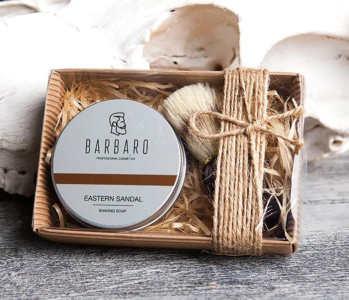 RAZ1015-1 Подарочный набор с мылом для бритья «Barbaro Eastern sandal» и помазком из кабана.