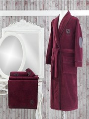 LUXURE махровый мужской халат бордовый  SOFT COTTON Турция
