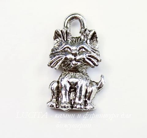 "Подвеска Quest Beads ""Котенок"" (цвет-античное серебро) 16х9 мм"