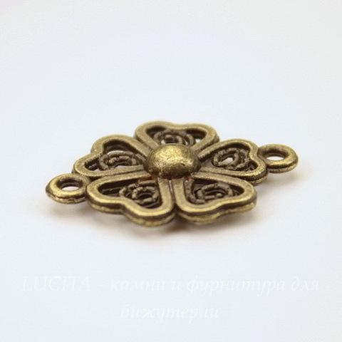 """Коннектор """"Цветок"""" (1-1) 21х15 мм (цвет - античная бронза)"""