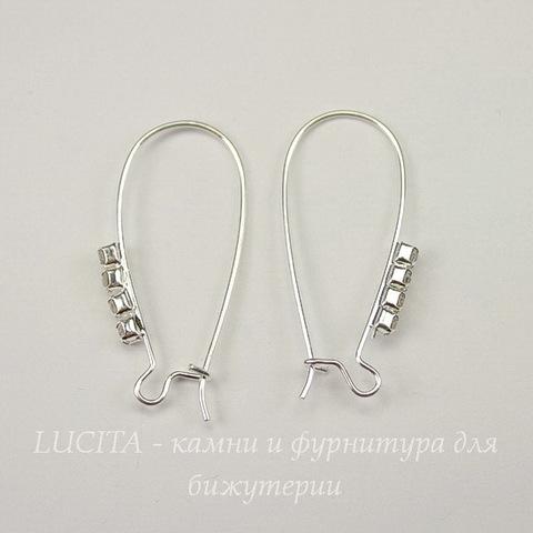 Швензы - петли длинные со стразами 33-34х16 мм (цвет - серебро)
