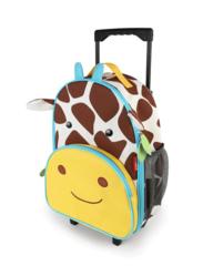 Детский чемодан на колесах с выдвижной ручкой Жираф