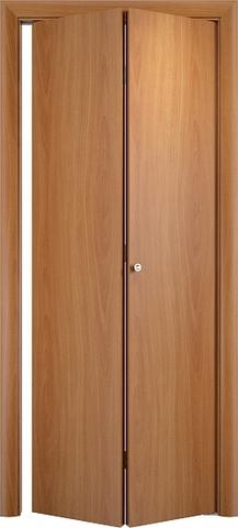 Дверь складная Верда ДПГ (2 полотна), цвет миланский орех, глухая