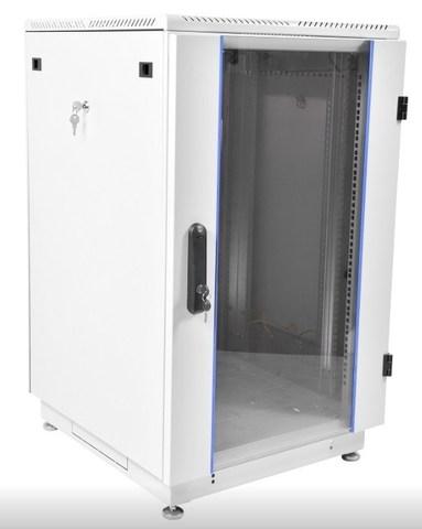 Шкаф телекоммуникационный напольный 27U (600 × 1000) дверь стекло, цвет чёрный