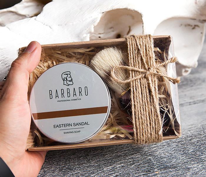 RAZ1015-1 Подарочный набор с мылом для бритья «Barbaro Eastern sandal» и помазком из кабана. фото 04