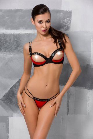 Эротический комплект белья (открыты бюст + стринги) Midori черно-красного цвета фото