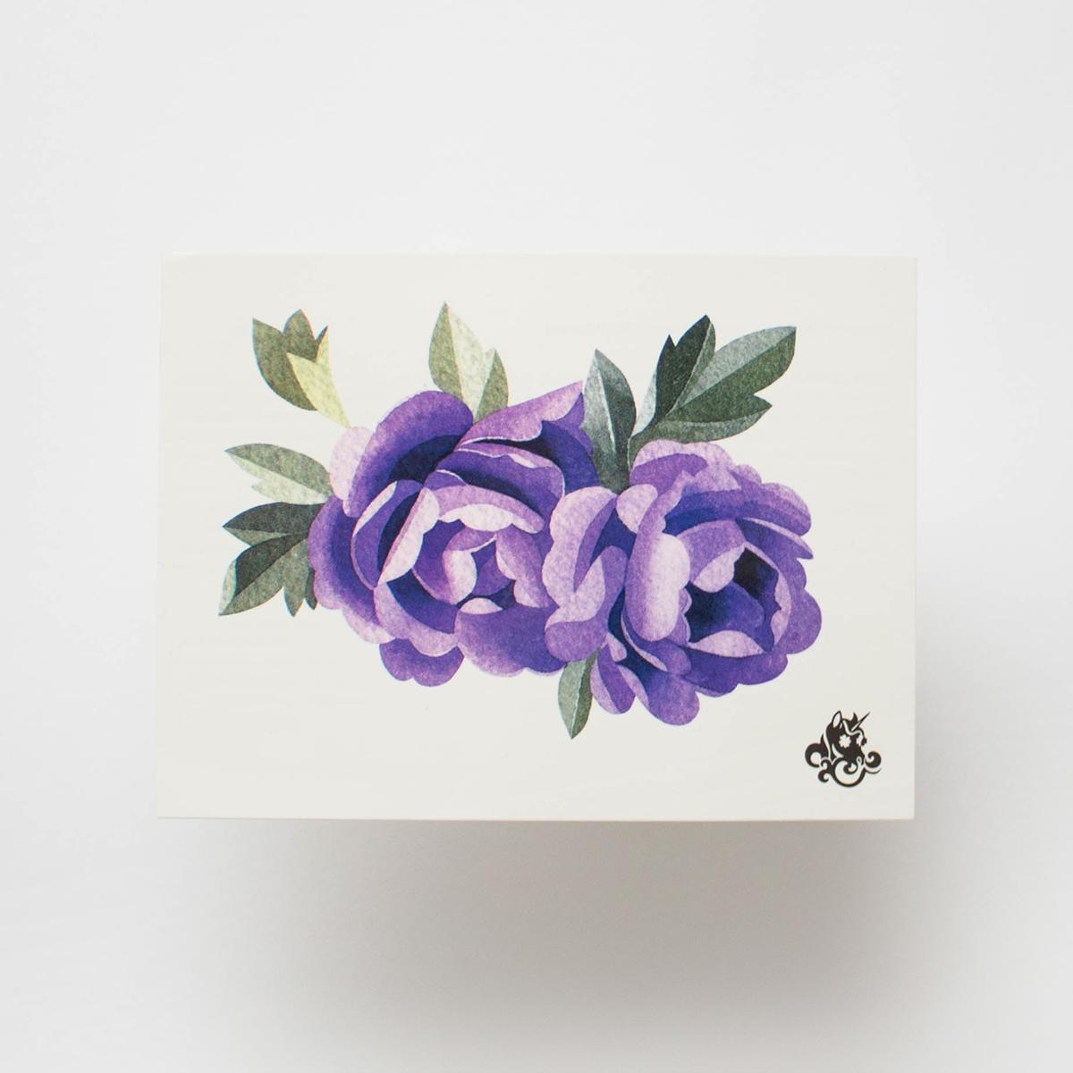 Переводная татуировка Purple peonies
