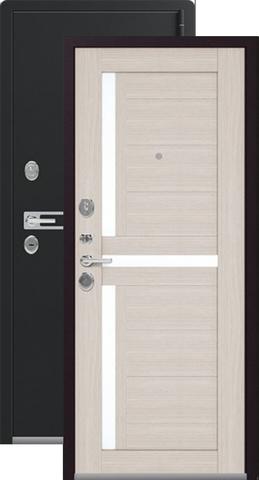 Дверь входная Легион L-3, 2 замка, 1,8 мм  металл, (чёрный муар+лиственница светлая)