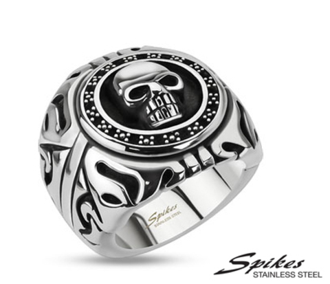 Массивный мужской перстень с черепом из ювелирной стали, «Spikes»