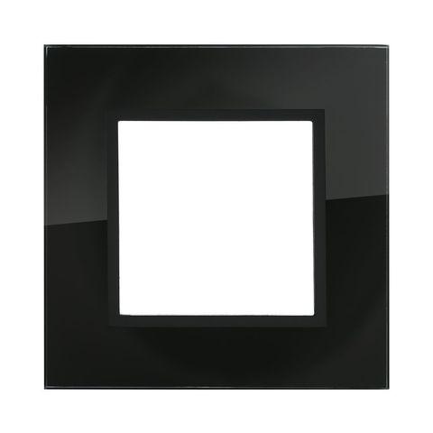 Рамка на 1 пост из натурального темного стекла. Цвет Чёрный. LK Studio LK45 (ЛК Студио ЛК45). 854110
