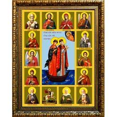 Петр и Феврония Муромские со Святыми. Икона на холсте.