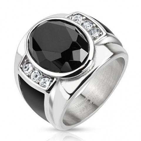 Перстень мужской из нержавеющей ювелирной стали цельнолитой с ониксом и цирконами SPIKES R-H5590