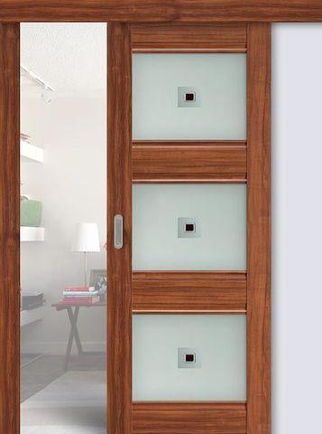 > Экошпон раздвижная Profil Doors №4Х-Классика, стекло узор, цвет орех амари, остекленная