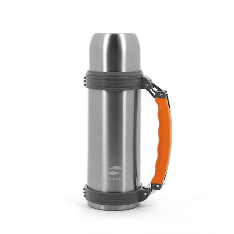 Термос Stinger, 0,75 л, широкий с ручкой, сталь, серебристый, оранжевые вставки