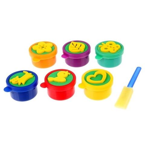 Большой набор пальчиковых красок со штампами, 6 шт