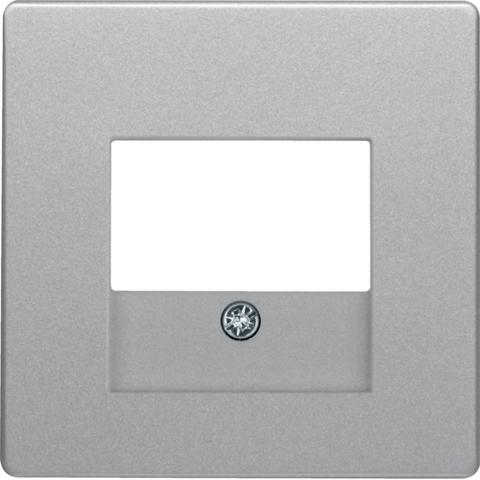 Лицевая панель audio/usb розетки TAE. Цвет Алюминий. Berker (Беркер). Q.1 / Q.3 / Q.7. 10336084