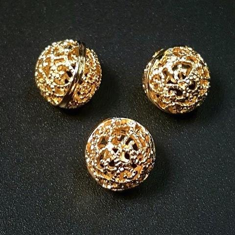Бусина ажурная позолоченная 10 мм цвет золото