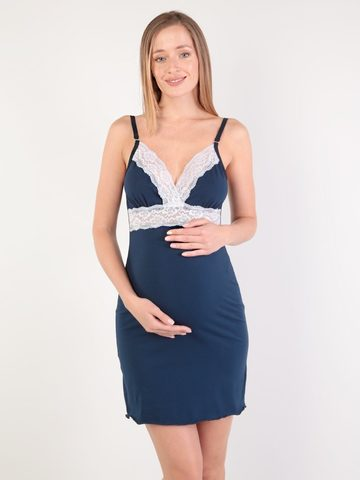 Euromama/Евромама. Сорочка с кружевом для беременных и кормящих, темно-синий