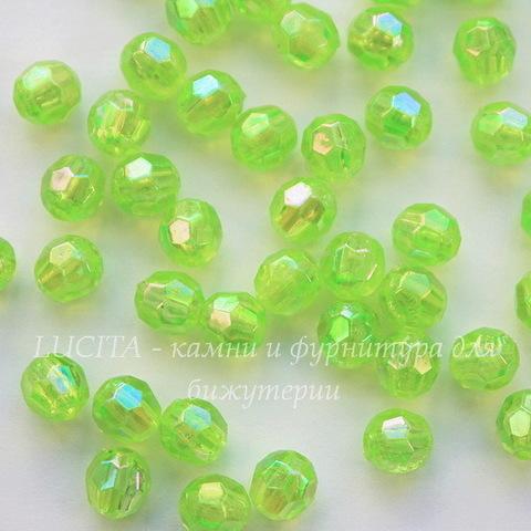 Бусина акриловая шарик с огранкой зеленый с AB покрытием 6 мм, 10 штук