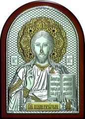 Серебряная с золочением инкрустированная гранатами икона Иисуса Христа Спасителя 20х14,5см в подарочной коробке