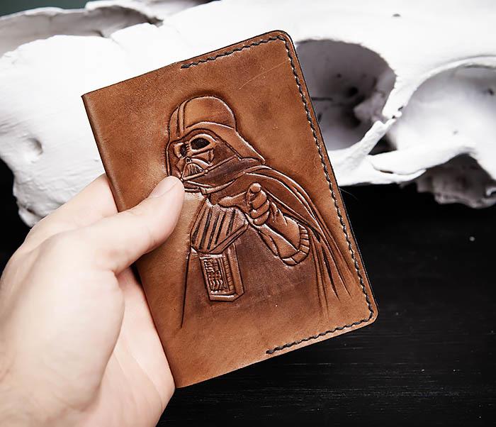 BC154 Обложка на паспорт Дарт Вейдер, ручная работа фото 03