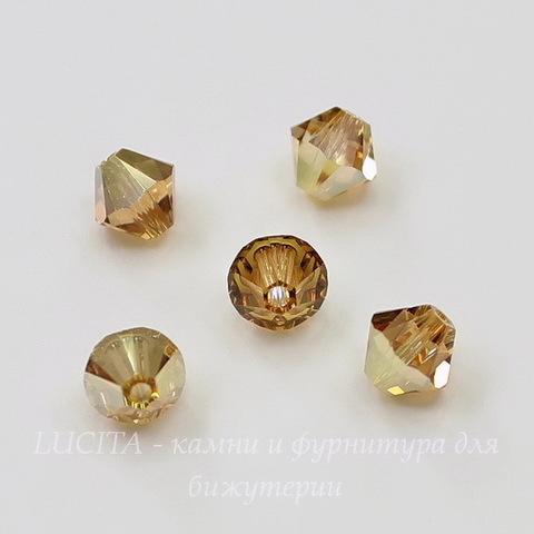 5328 Бусина - биконус Сваровски Crystal Metallic Sunshine 6 мм, 5 штук
