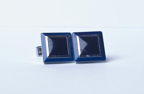 Запонки Lorendi Capri белого металла квадратные черно-синие