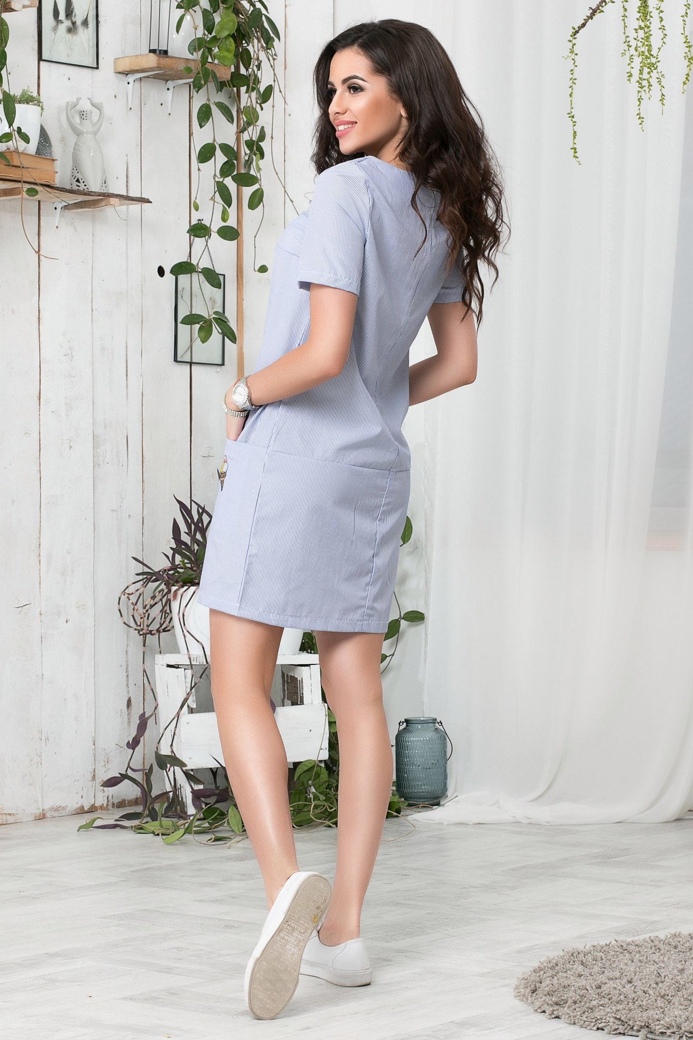 76a33275a8073e5 Короткое летнее платье с апликацией, в синюю полоску купить в Москве ...