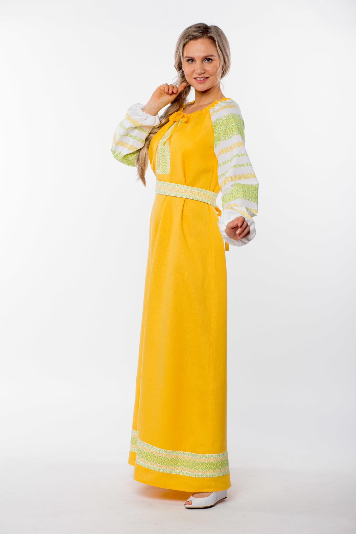 Платье льняное Ясно солнышко вид сбоку