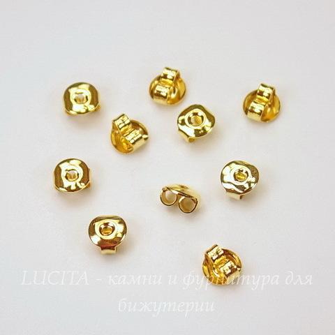 Зажим для пуссет-гвоздиков 5х3 мм (цвет - золото) 5 пар