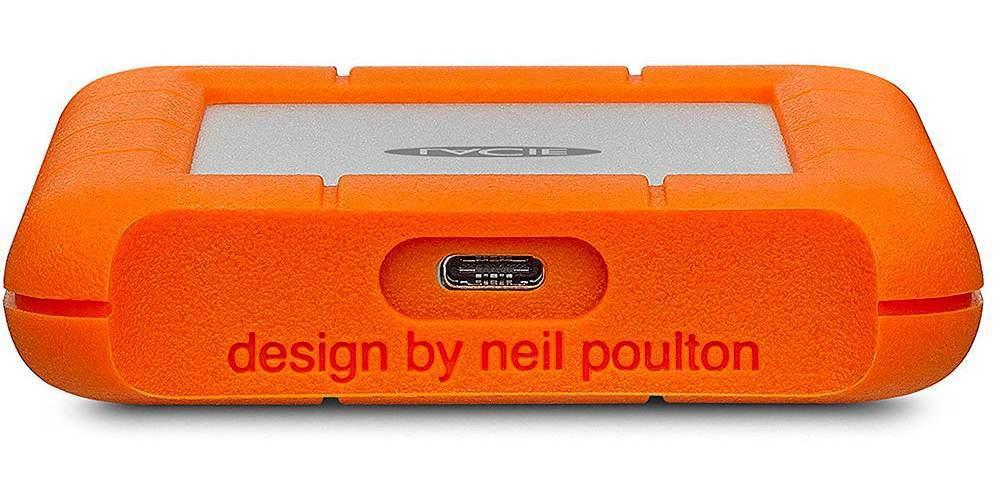 "Внешний жесткий диск 1TB LaCie Rugged Mini USB-C 2,5"" вид снизу разъем"