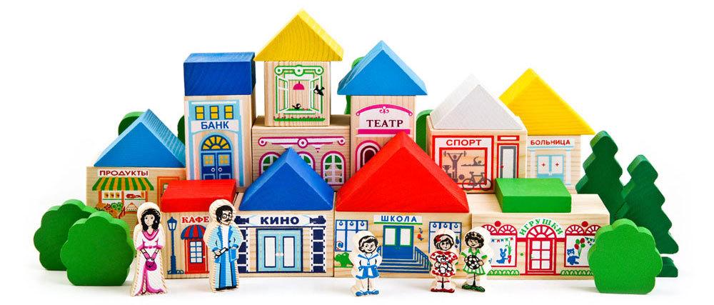 Деревянный конструктор Томик «Веселый городок» 56 деталей игрушки