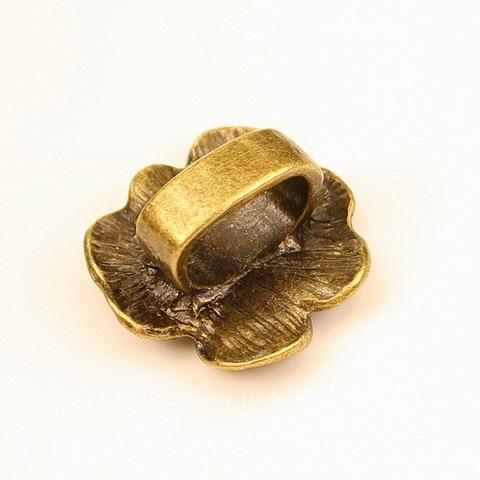 """Бусина металлическая (для шнура 12х8 мм) """"Цветок"""" 24х22х13 мм (цвет - античная бронза)"""