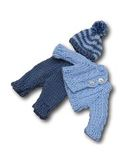 Вязаный жакет, рейтузы и шапочка - Голубой. Одежда для кукол, пупсов и мягких игрушек.