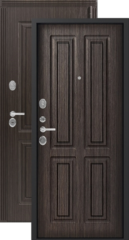 Дверь входная Легион L-4/1, 2 замка, 1,2 мм  металл, (чёрный муар+венге шёлк)