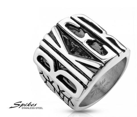 Массивный мужской перстень «Biker» фирмы «Spikes» из ювелирной стали