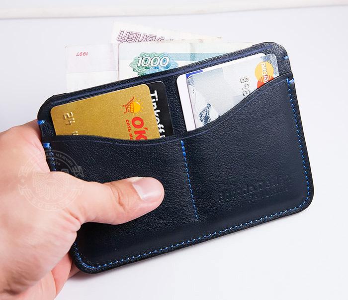 BC122-3 Обложка синего цвета для документов и карт ручной работы, «Boroda Design» фото 08