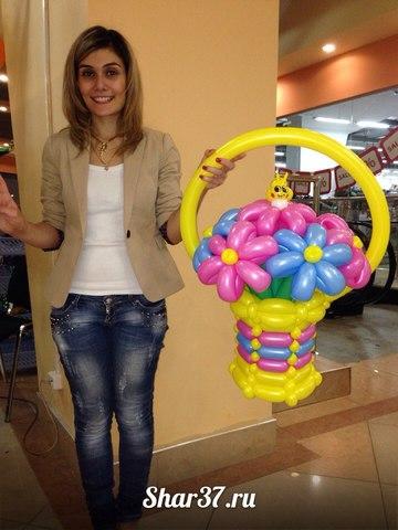 Корзинка из шариков (7ромашек)