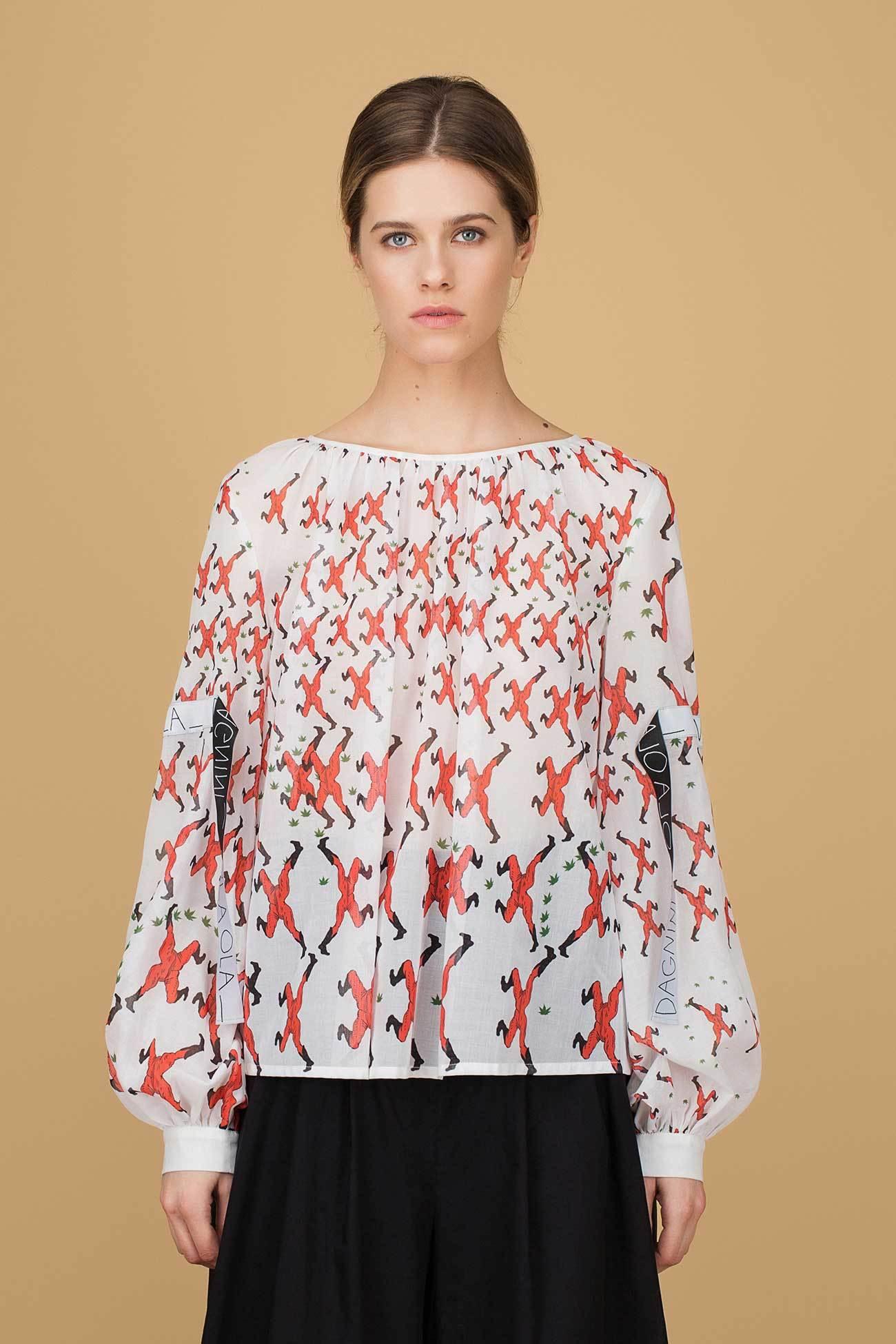 Блуза с принтом и лентами