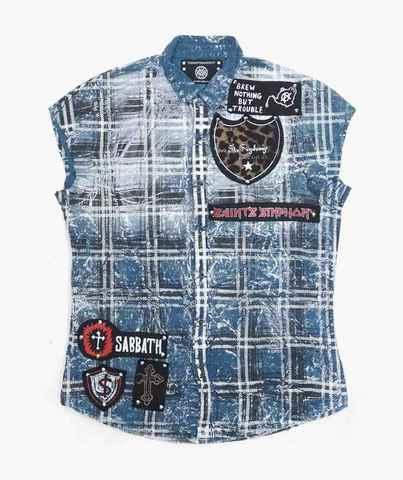 Рубашка без рукавов The Saints Sinphony BLUE SLEEVELESS BUTTON UP PUNK PATCHES