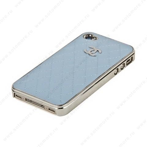 Накладка CHANEL для iPhone 4s/ 4 серебряная+голубая кожа