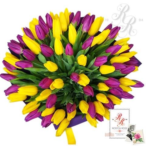Фиолетово-желтый микс из тюльпанов