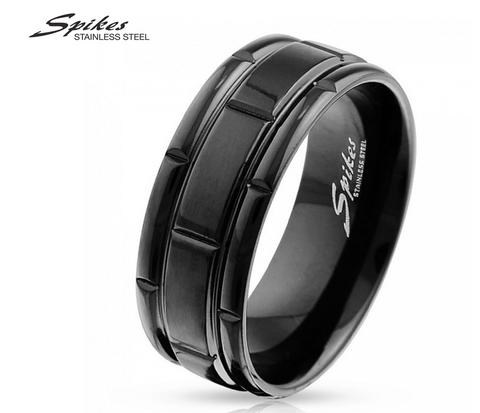 R-M3631-8 Стильное мужское кольцо &#34Spikes&#34 черного цвета из ювелирной стали