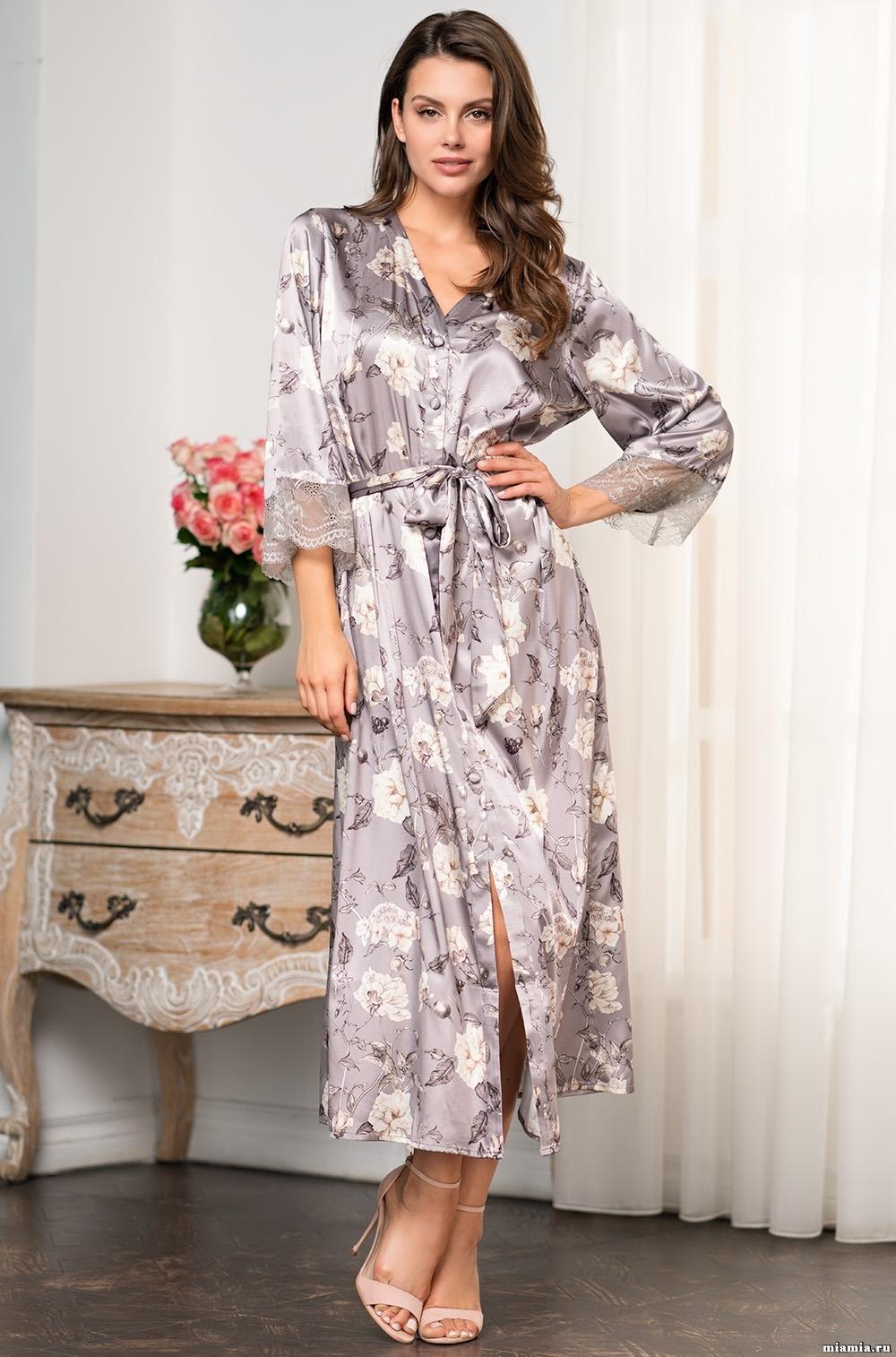 Шелковые халаты Шелковый халат на пуговицах  Mia-Amore  GRACIA ГРАЦИЯ 3589 3589_1.jpg