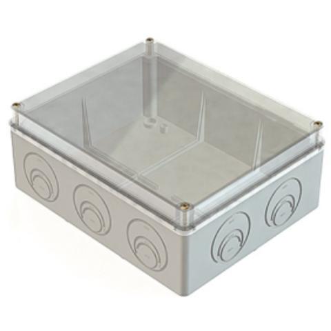 Распаячная коробка ОП 240х195х90мм, прозрач. крышка, IP44, кабельные ввода d28-3 шт., d37-2 шт., TDM
