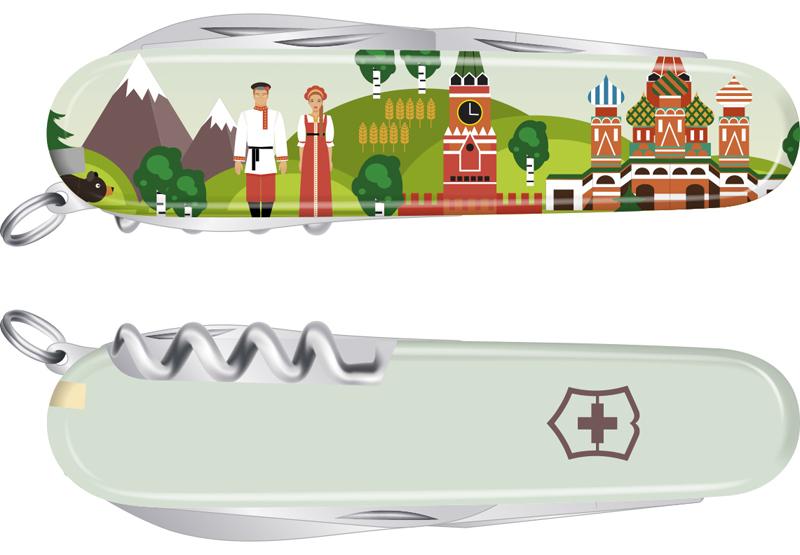 """Нож Victorinox Spartan, 91 мм, 12 функций, """"Из России с любовью"""""""